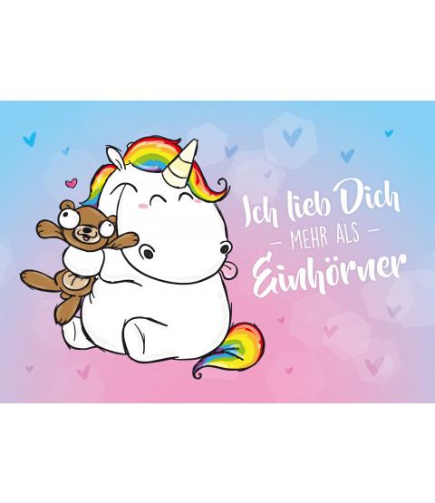 """Pummeleinhorn Postkarte A6, Nr. 7, """"Einhörner"""""""