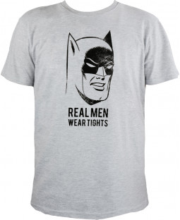 "Batman - Herren T-Shirt, grau melange - ""Real Men wear tights"""