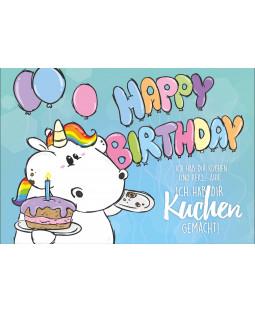 """Pummeleinhorn Grußkarte mit Umschlag, Nr. 1, """"Happy Birthday!"""""""