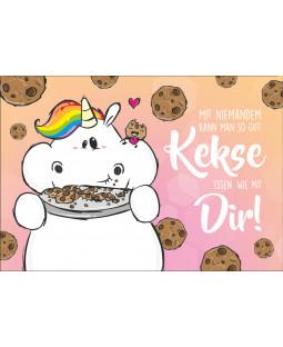 """Pummeleinhorn Grußkarte mit Umschlag, Nr. 4, """"Kekse essen"""""""