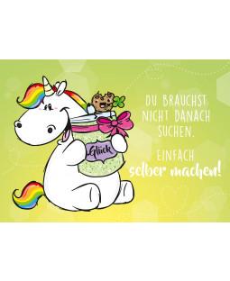 """Pummeleinhorn Postkarte A6, """" selber machen"""""""