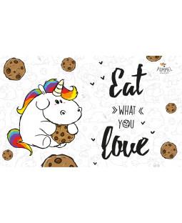 """Pummeleinhorn Brettchen, """"Eat what you love"""""""