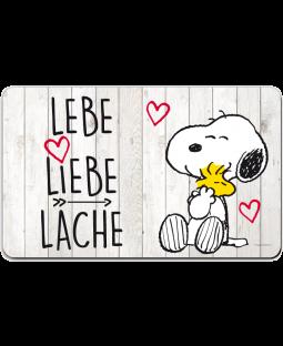 """Snoopy Frühstücksbrettchen """"Lebe, Liebe, Lache"""""""