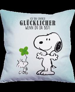 "Snoopy Kissen ""Glücklich"" 40x40 cm"
