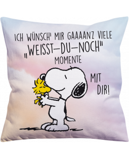 "Snoopy Kissen ""weißt-du-noch"" 40x40 cm"
