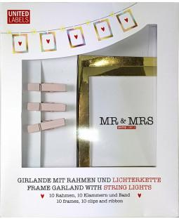 LITTLE ONES/MR & MRS - Foto Girlande mit LEDs, Klammern und goldfarbenen Rahmen