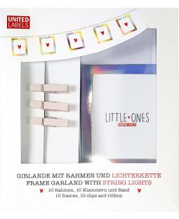 LITTLE ONES/MR & MRS - Foto Girlande mit LEDs, Klammern und silberfarbenen Rahmen