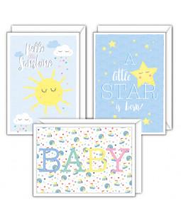 LITTLE ONES - Grusskarten 9er Set Baby (3 x 3 Motive) mit Umschlägen, 11,5 x 16,5 cm